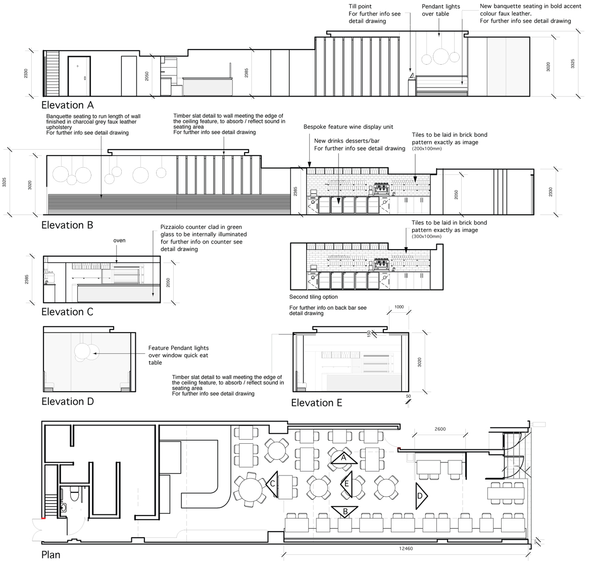 Elevation Plan Requirements : Pizza express wimbledon working drawings